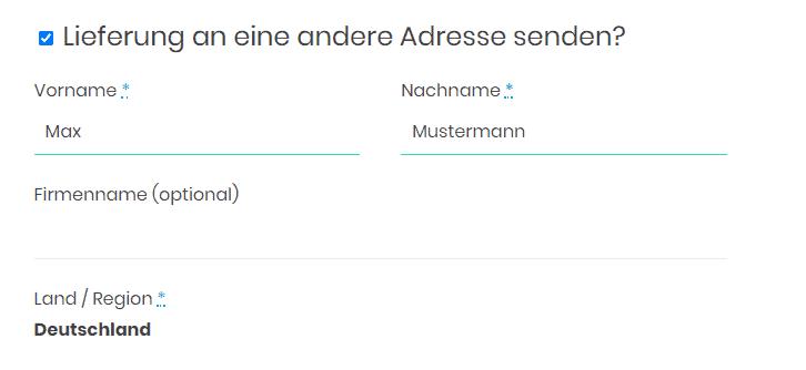 """Screenshot aus dem WooCommerce-Checkout auf der """"zur Kasse""""-Seite: Das Häkchen bei """"Lieferung an eine andere Adresse senden"""" ist gesetzt."""