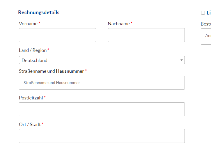 Screenshot der Hausnummer-Abfrage in WooCommerce