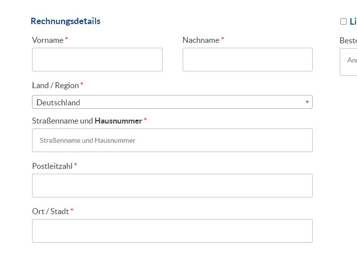 Screenshot der Hausnummer-Abfrage in WooCommerce